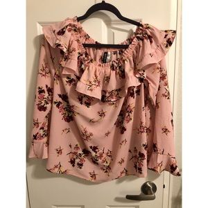 Off the Shoulder Pink Floral Blouse - Size L/XL